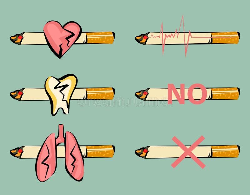 Grupo de sinais de fumo do dano Coração, dente e pulmões danificados Cigarro e ícone do pulso Estilo retro dos desenhos animados  ilustração do vetor