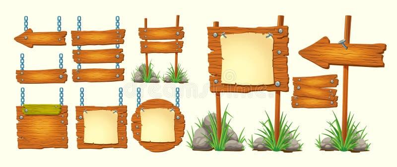 Grupo de sinais de madeira das ilustrações dos desenhos animados do vetor, elementos do projeto do GUI ilustração do vetor