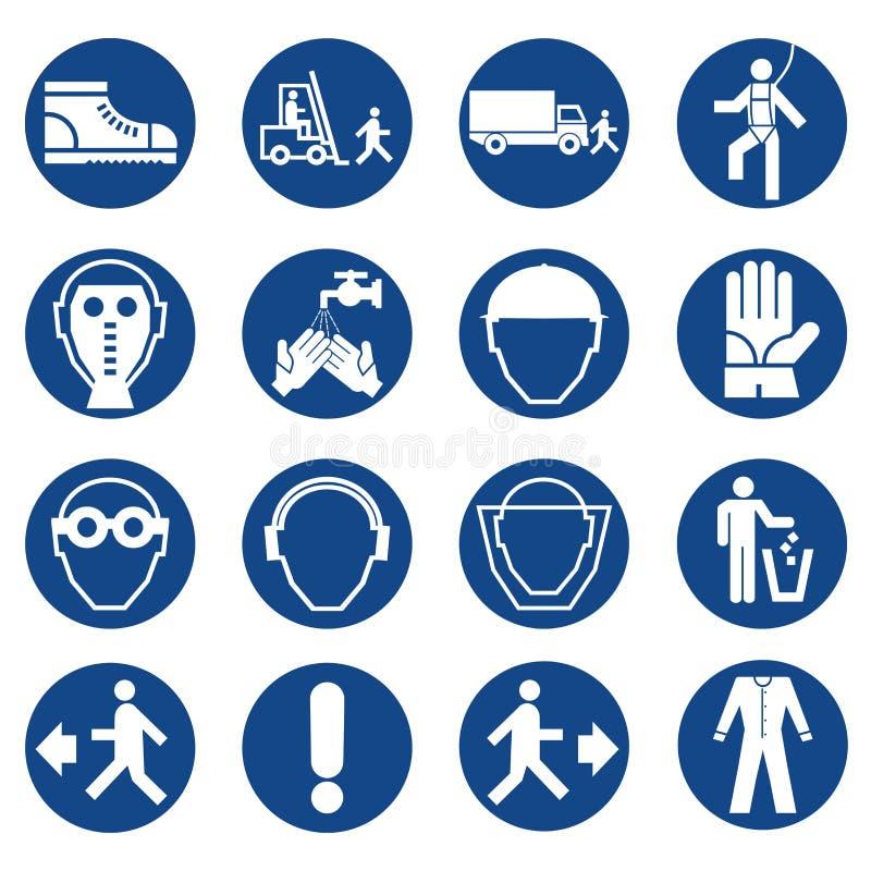 Grupo de sinais do equipamento de segurança Sinais imperativos da construção e da indústria Coleção do equipamento da proteção sa ilustração stock