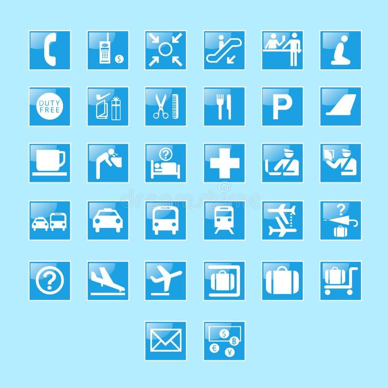 Grupo de sinais e de símbolos do aeroporto  ilustração stock