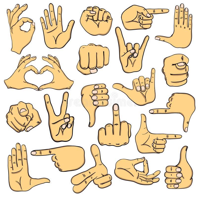 Grupo de sinais humanos Ans Signals das mãos ilustração stock