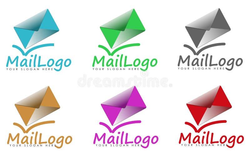Grupo de sinais ou de logotipos do correio ilustração do vetor