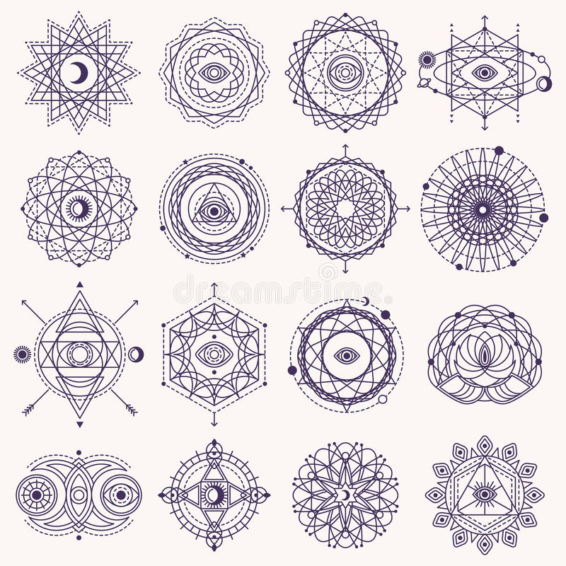Grupo de sinais sagrados da geometria ilustração stock