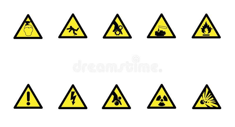 Grupo de sinal de aviso do amarelo do triângulo Vetor, ilustração imagem de stock royalty free