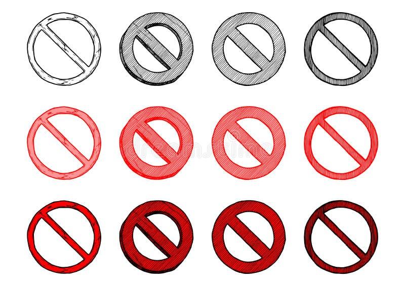 Grupo de sinal da proibição ilustração royalty free