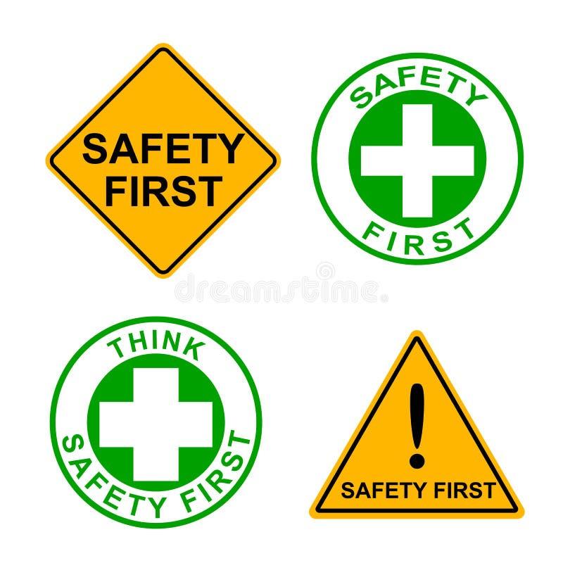 Grupo de sinal da segurança em primeiro lugar ilustração stock