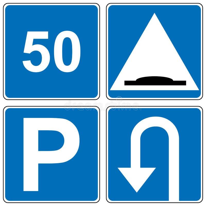 Grupo de sinal de estrada do tráfego Ilustração do vetor ilustração stock