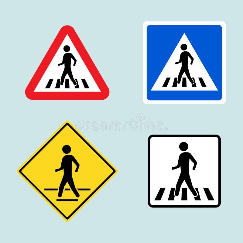 Grupo de sinal do cruzamento pedestre isolado no fundo Ilustração do vetor ilustração royalty free