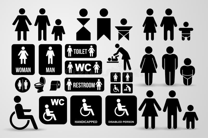 Grupo de sinal do preto do WC para o toalete Ícones da placa da porta do toalete Símbolos dos homens e das mulheres Ilustração do ilustração do vetor