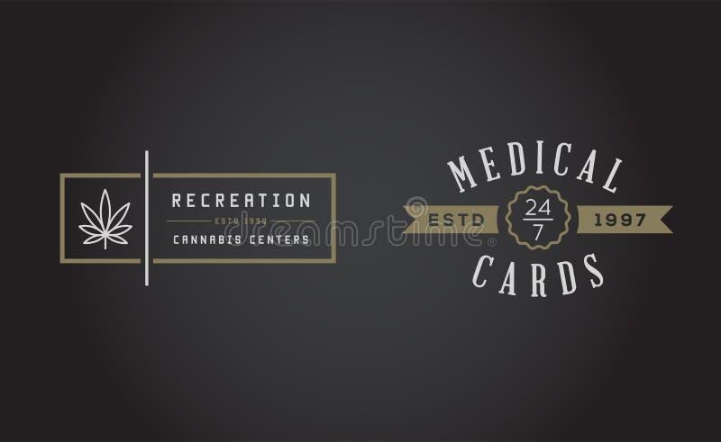 Grupo de sinal médico da marijuana do cannabis ou molde da etiqueta em Vect ilustração do vetor