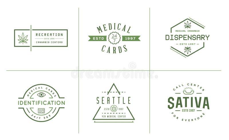 Grupo de sinal médico da marijuana do cannabis ou molde da etiqueta em Vect ilustração stock