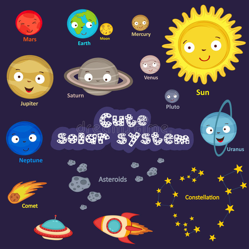 Grupo de sistema solar bonito ilustração stock