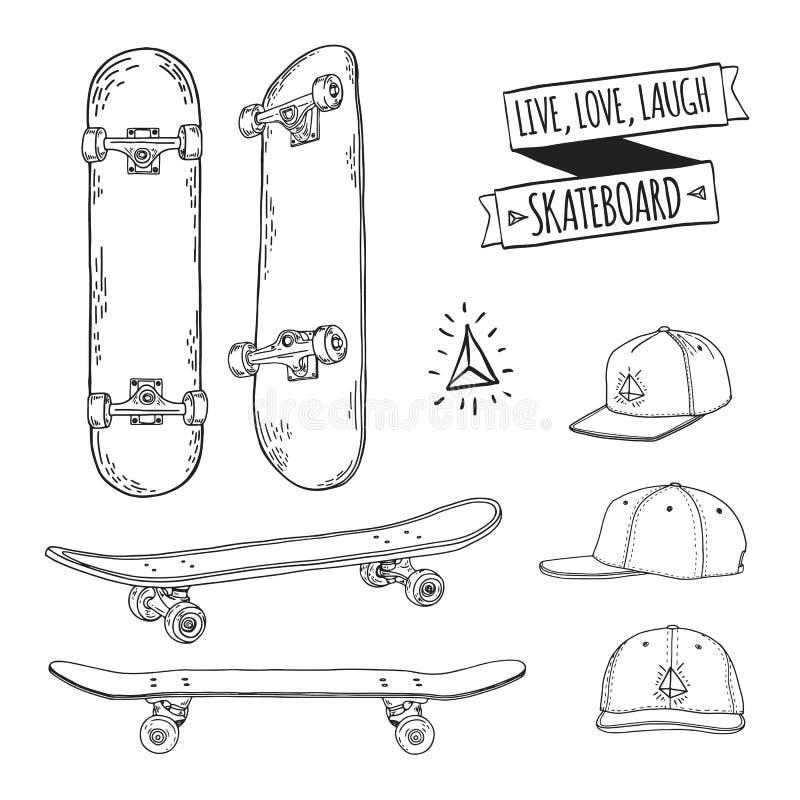 Grupo de skates e de tampões preto e branco Para etiquetas, logotipos, ícones Atributos de skateboarding Patim ajustado com tampõ ilustração royalty free
