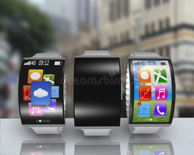 Grupo de smartwatch curvado ultra-de pouco peso da tela com aço w foto de stock royalty free