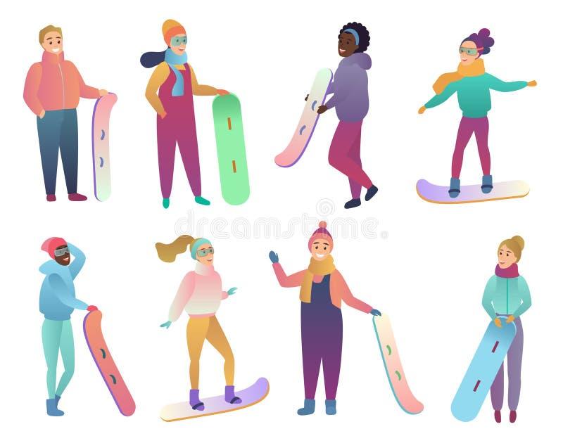 Grupo de snowboarders dos desenhos animados Povos com snowboards Ilustração lisa do vetor da cor do inclinação na moda Active do  ilustração do vetor