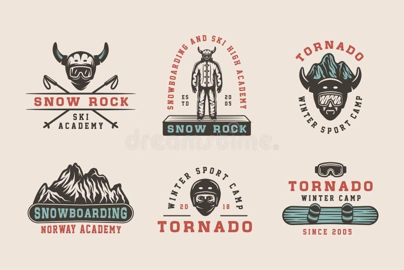 Grupo de snowboarding do vintage, de esqui ou de logotipos dos esportes de inverno, crachás, ilustração royalty free