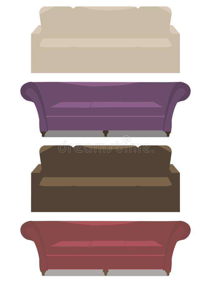 Grupo de sofá macio do vetor com couro marrom roxo bege dos braços e de vermelho isolados no fundo branco ilustração stock