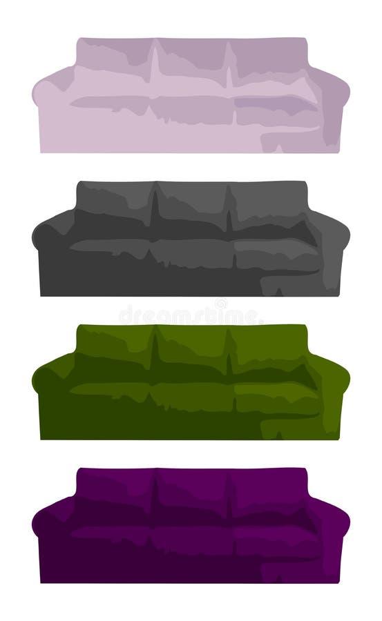Grupo de sofás isolados coloridos ilustração royalty free