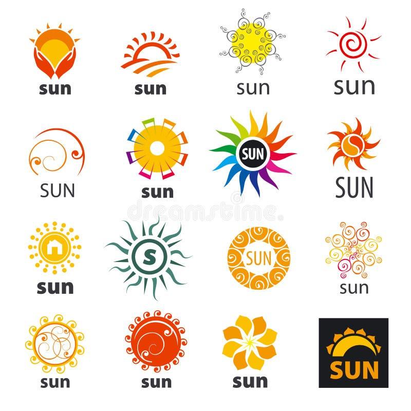 Grupo de sol dos logotipos do vetor ilustração stock