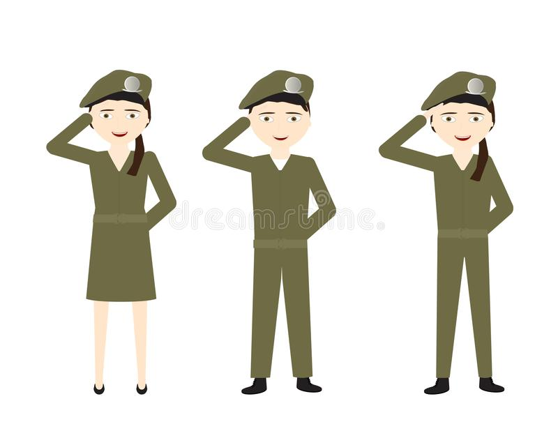 Grupo de soldados dos desenhos animados com uniformes verdes que saudam no fundo branco ilustração stock