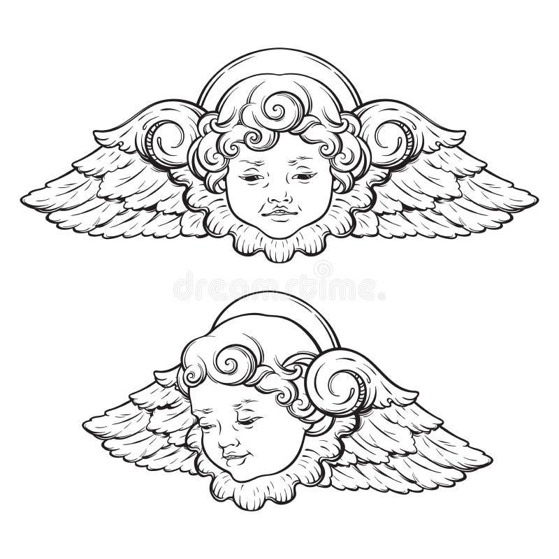 Grupo de sorriso encaracolado voado bonito do anjo do bebê do querubim isolado sobre o fundo branco Ilustração tirada mão do veto ilustração do vetor