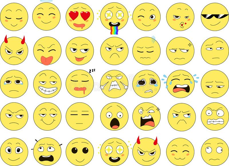 Grupo de sorrisos engraçados, ícones da Web, vetor fotos de stock