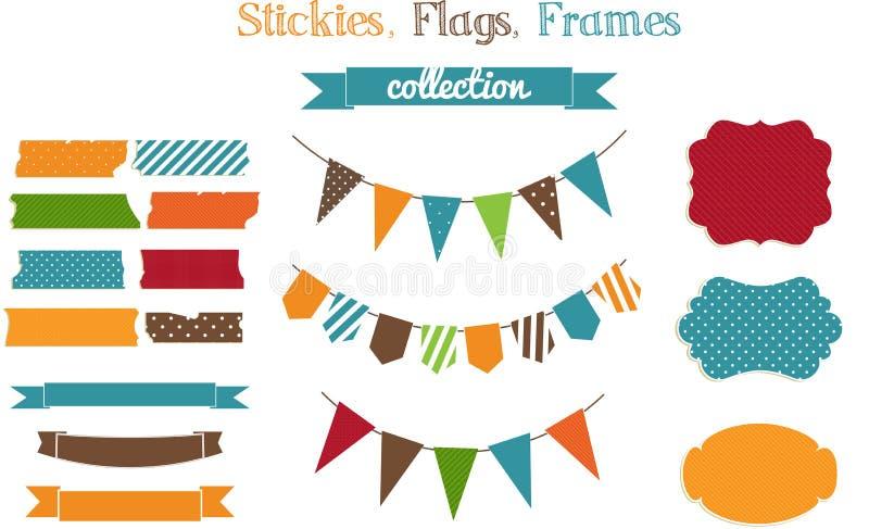 Grupo de stickies, de bandeiras e de fra brilhantes do sucata-registro ilustração do vetor