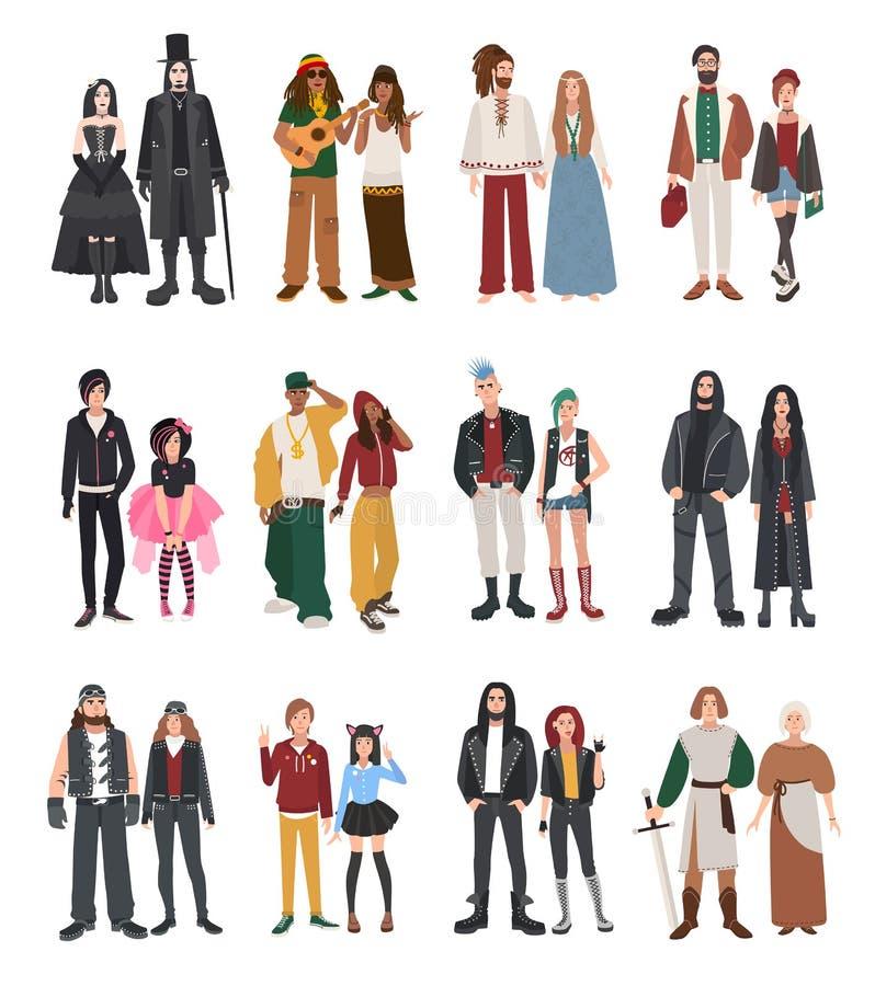 Grupo de subcultura diferente ilustração stock