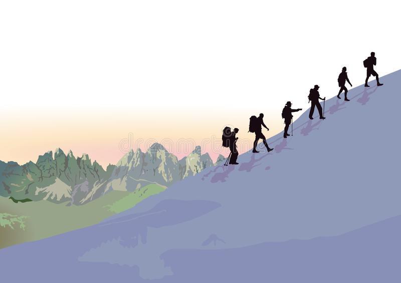 Grupo de subir de los montañeses libre illustration
