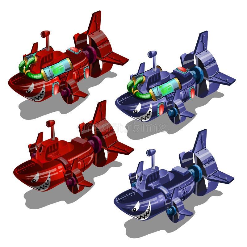 Grupo de submarinos ao estilo dos peixes toothy multi-coloridos isolados no fundo branco Ilustração do vetor ilustração royalty free