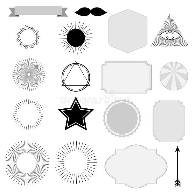 Grupo de sunburst do vintage, símbolos, etiquetas, etiquetas, projeto do moderno ilustração do vetor