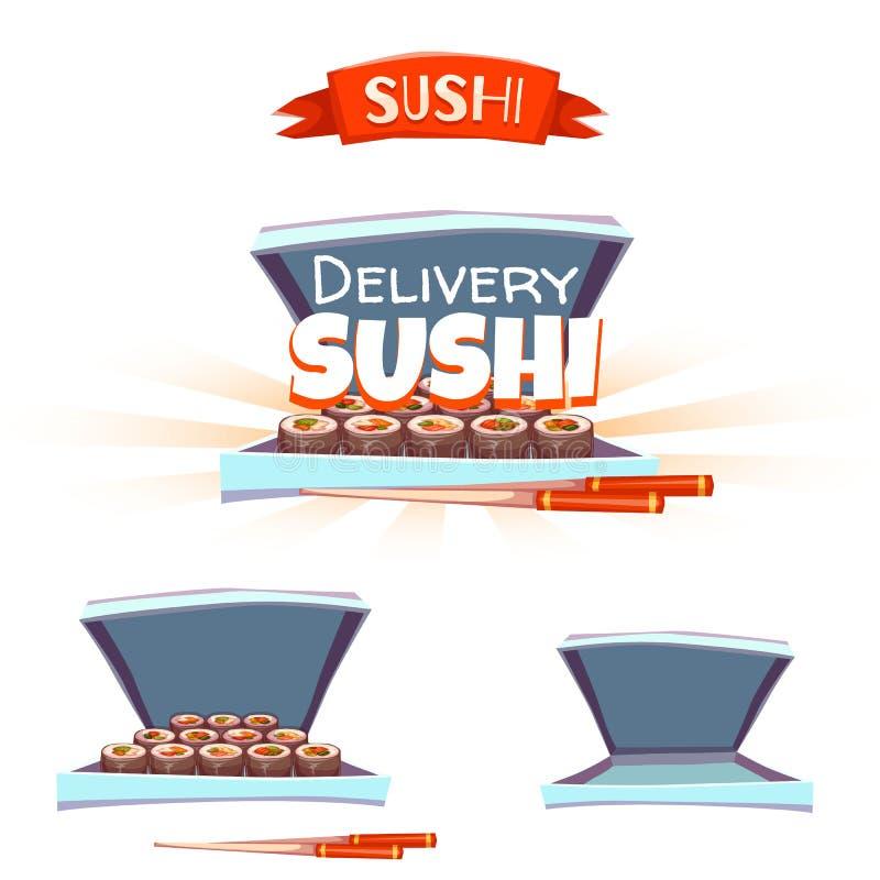 Grupo de sushi com caixa e hashi entrega ilustração stock