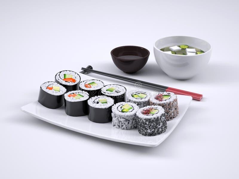 Grupo de sushi e de rolo do maki ilustração royalty free