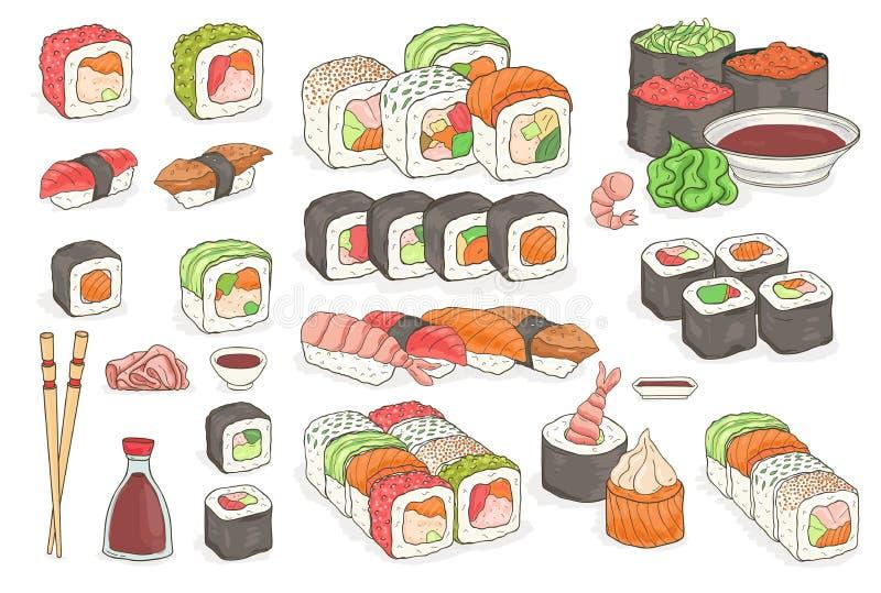 Grupo de sushi, rolos, wasabi, molho de soja, gengibre, hashis Pratos japoneses tradicionais do marisco Elementos tirados mão par ilustração do vetor