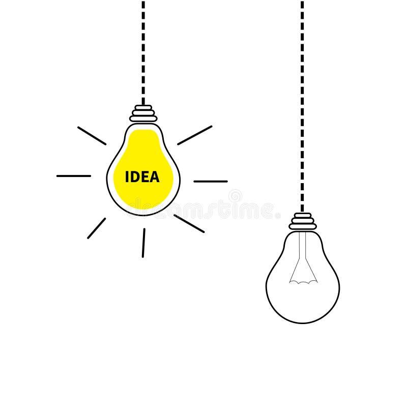 Grupo de suspensão do ícone da ampola Ligue fora da lâmpada Texto da ideia para dentro Efeito de brilho Linha do traço Cor amarel ilustração stock