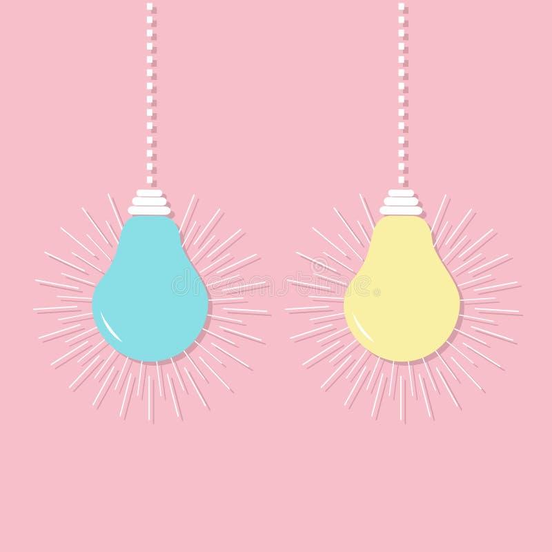 Grupo de suspensão do ícone da ampola Ligue fora da lâmpada Texto da ideia para dentro Efeito de brilho Linha do traço Conceito d ilustração do vetor