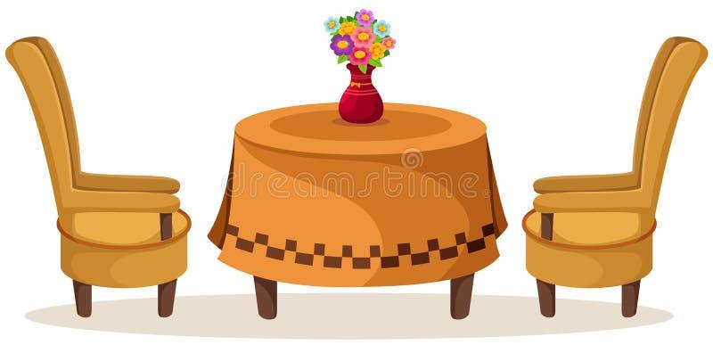 Grupo de tabela e de cadeiras com flores ilustração royalty free