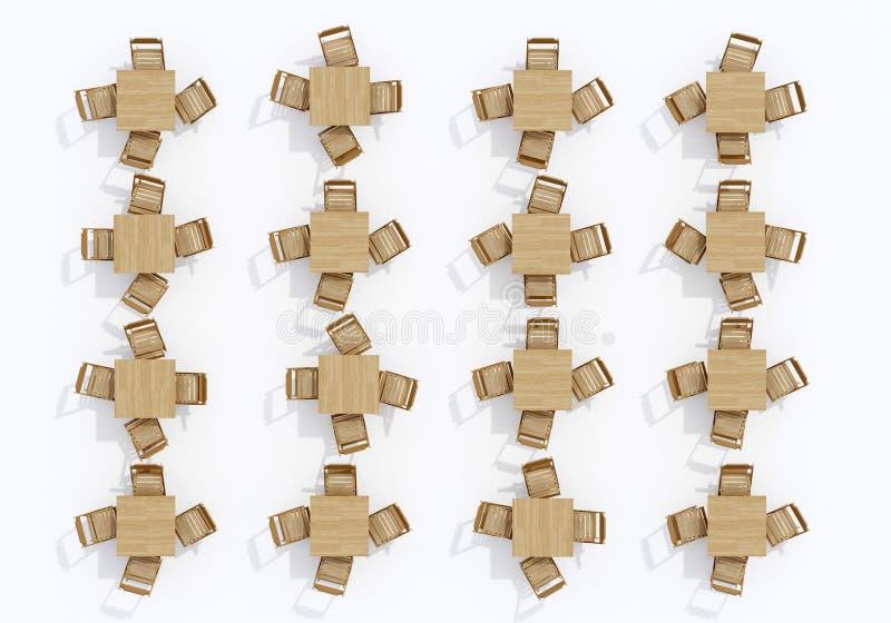 Grupo de tabelas de madeira com opinião superior das cadeiras ilustração stock