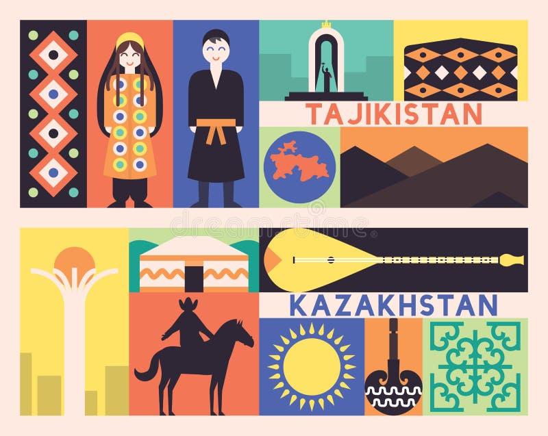 Grupo de Tajiquistão Cazaquistão foto de stock