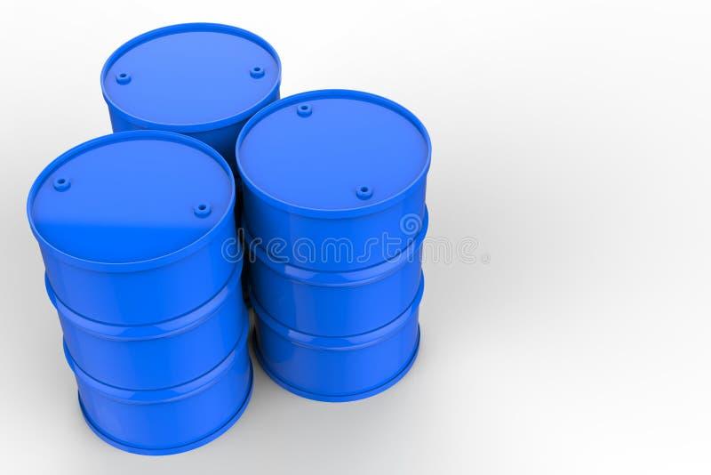 Grupo de tambores de óleo azuis ilustração stock