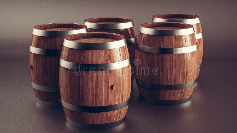 Grupo de tambores de madeira, coleção de tambores de madeira eretos da cerveja, do vinho e do rum ilustração do vetor