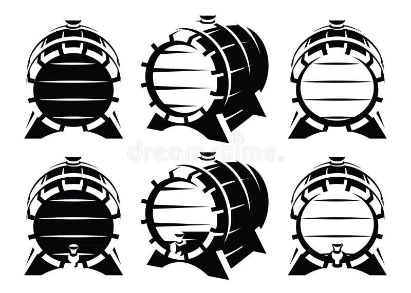 Grupo de tambores de madeira do vintage no escorço diferente no fundo branco Estilo retro monocromático ilustração stock