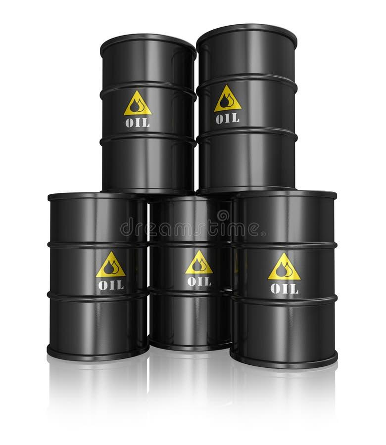 Grupo de tambores de petróleo pretos ilustração stock