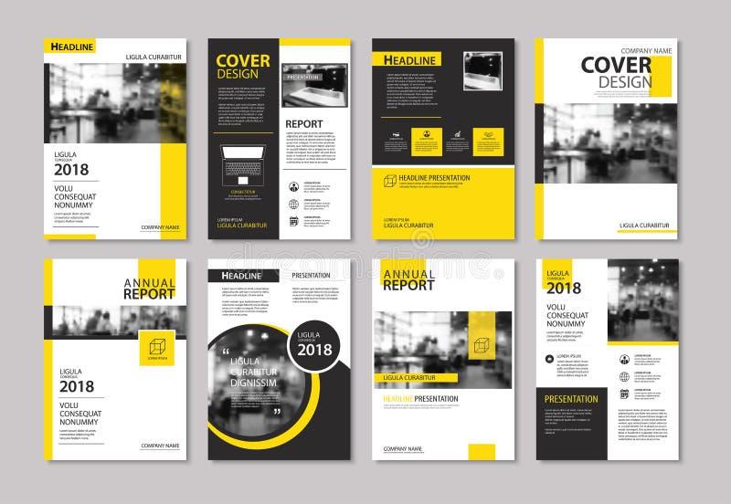 Grupo de tampa e de folheto amarelos da disposição, inseto, cartaz, r anual ilustração royalty free