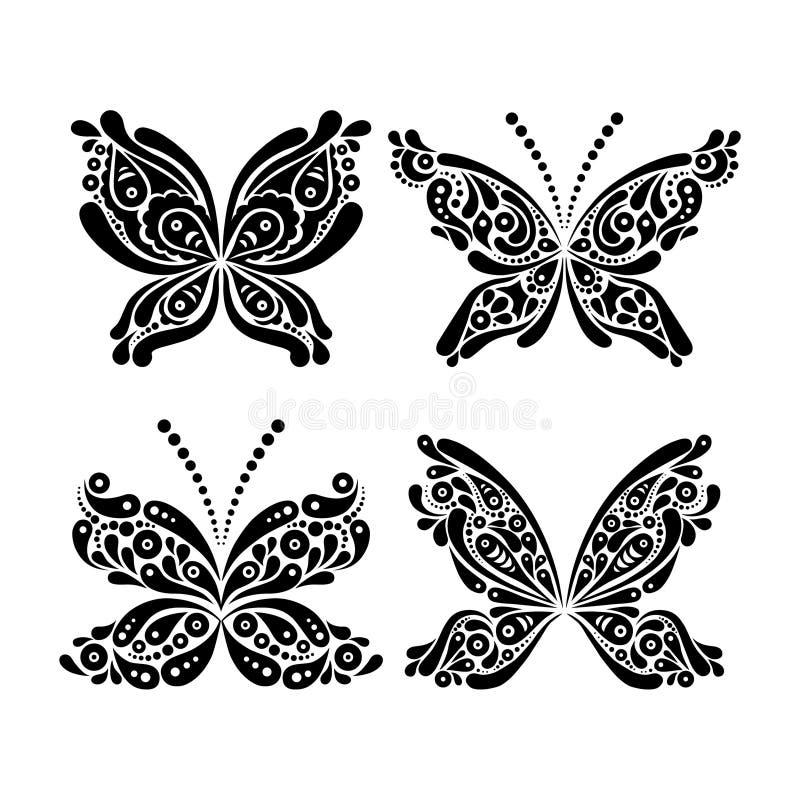 Grupo de tatuagem preto e branco bonita da borboleta ilustração do vetor