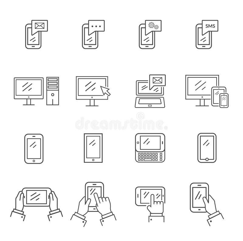 Grupo de tecnologia e de uma comunicação modernas dos ícones ilustração do vetor