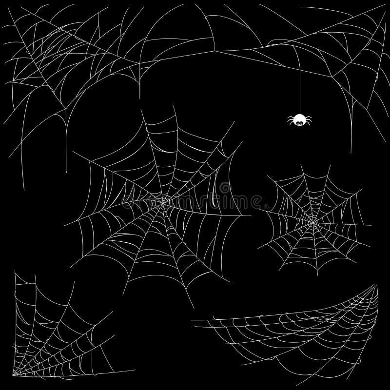 Grupo de teia de aranha isolado no fundo escuro Coleção de Spiderweb ilustração stock