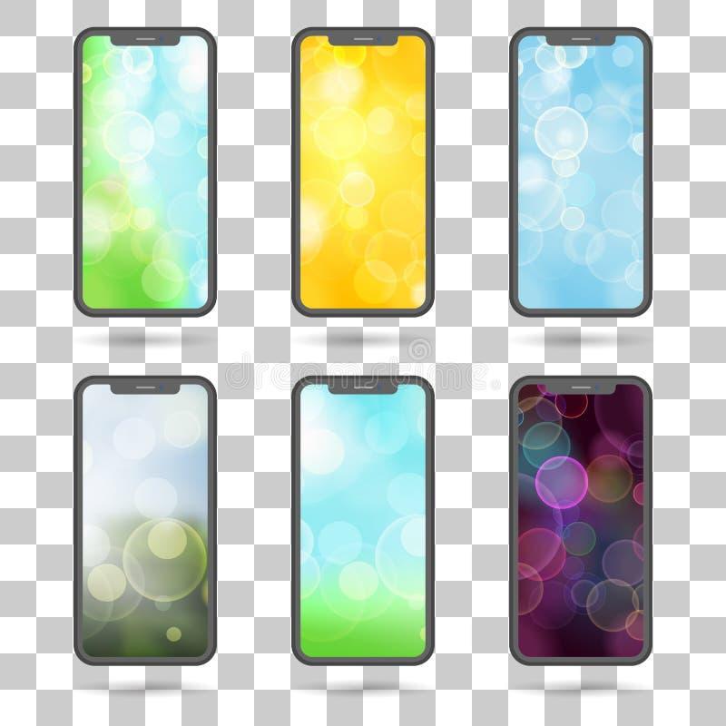 Grupo de telas diferentes para telefones celulares - illust liso do vetor ilustração royalty free