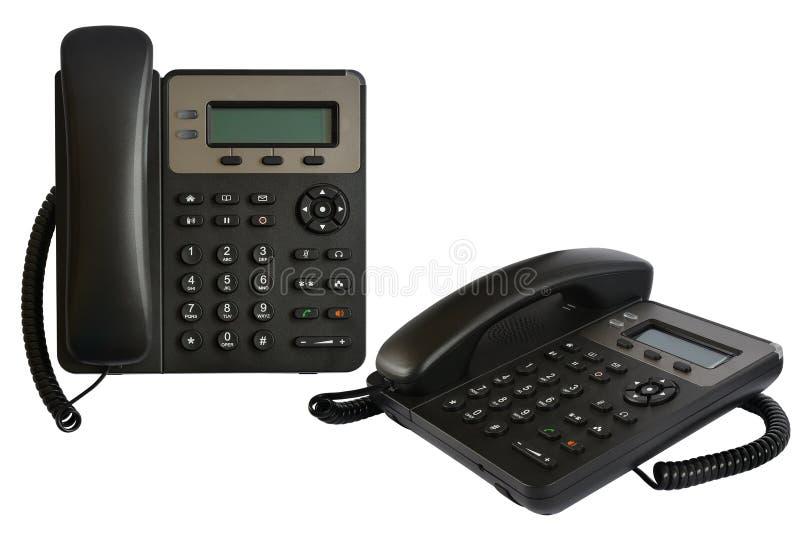 Grupo de telefone com exposi??o e bot?es Telefone moderno para a IP-telefonia fotos de stock royalty free