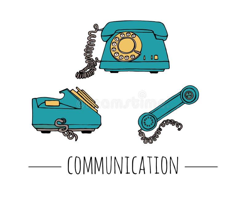 Grupo de telefone do vintage do vetor Ilustração retro do telefone prendido do seletor giratório ilustração royalty free
